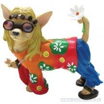 Aye Chihuahua Flower Child Dog Statue