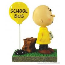Peanuts Snoopy Charlie Brown Bus Stop Mini-statue