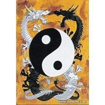 Tribal Ying Yang-dragons Textile Poster Flag